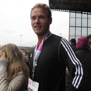 Tom Westley looking fresh after 13.1 miles