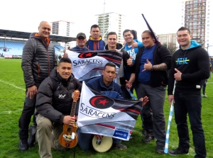 My Saracens flag and a group of Islanders