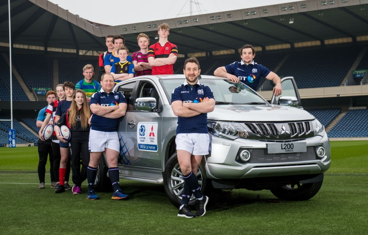 Greig Laidlaw supported by WP Nel and John Hardy are pictured at BT Murrayfield to mark the launch of Mitsubishi Motors as the Official Partner of Scottish Rugby..jpg
